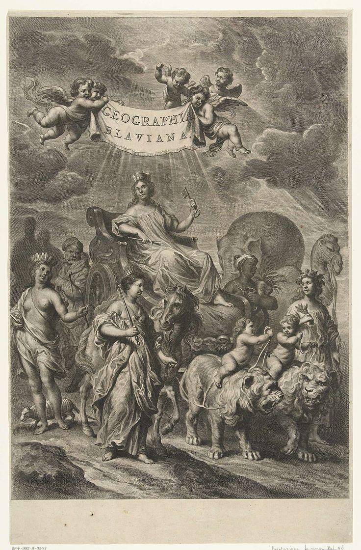 Vrouwelijke personificatie van Geografie op triomfwagen en werelddelen Amerika, Afrika, Azië en Europa, Cornelis van Dalen (II), 1648 - 1664