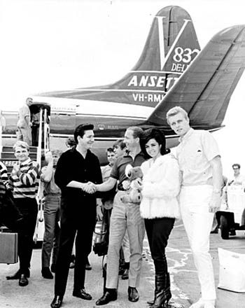 Roy Orbison and the Beach Boys arrive at Melbourne's Essendon Airport, January 1964