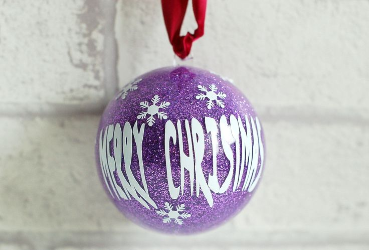 Christmas bauble, glitter bauble, vinyl lettering bauble, personalised bauble, 10cm clear decorated bauble by KraziCrochet on Etsy
