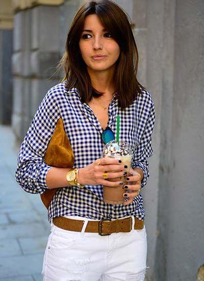 ギンガムチェックシャツ×ホワイトパンツ×ブラウン小物 #コーデ #初夏 #海外スナップ @MILAND