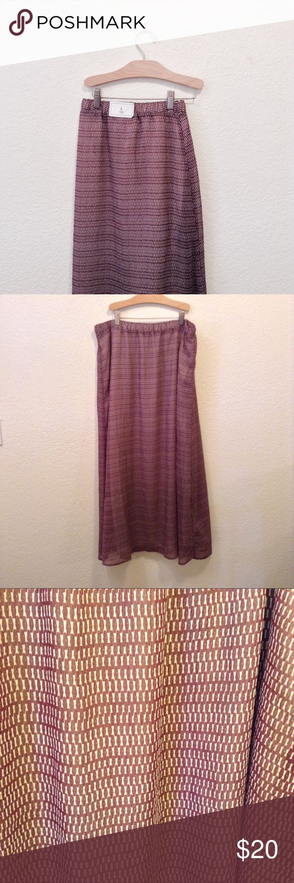 GAP Ikat Chiffon Maxi Skirt NWT, never worn. This skirt features a burgundy and cream Ikat pattern on a chiffon outer layer, the inside is fully lined. Elastic waist band. Questions and offers are welcome GAP Skirts Maxi
