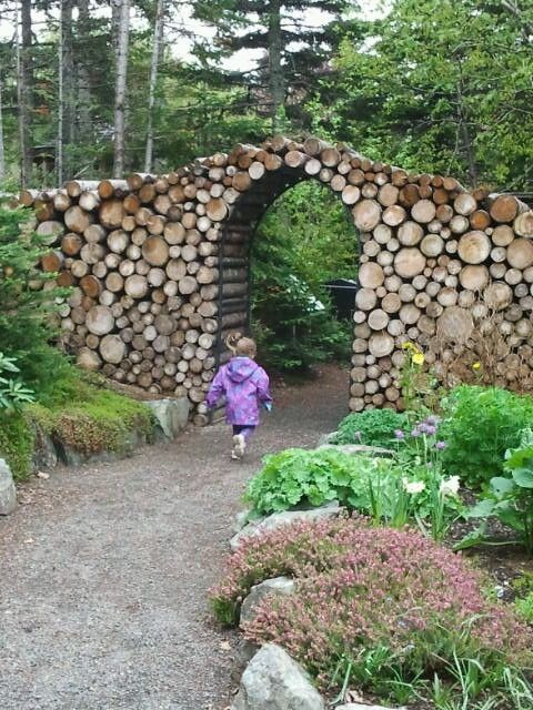 Love the idea of stacked logs around an arbor...MUN Botanical Gardens