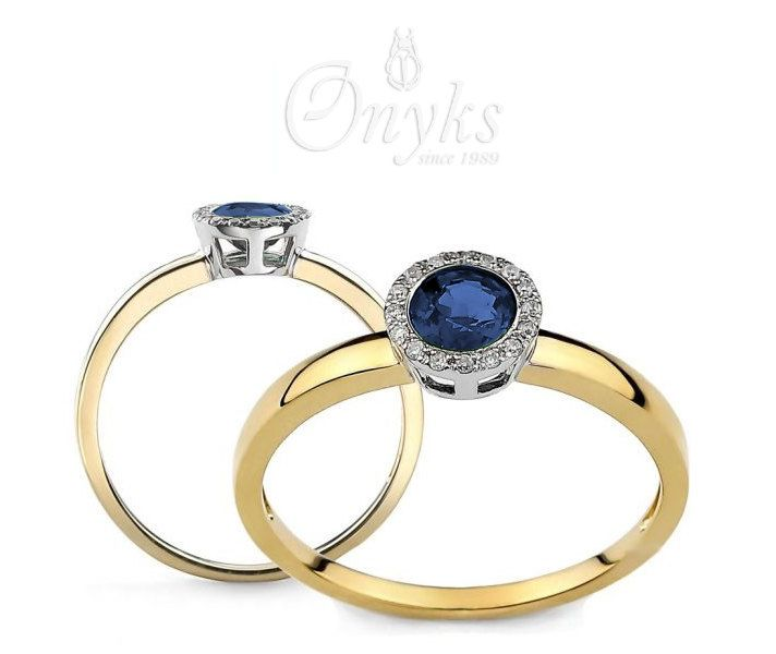 Gold ring with Sapphire and Diamonds by MyOnyks on Etsy