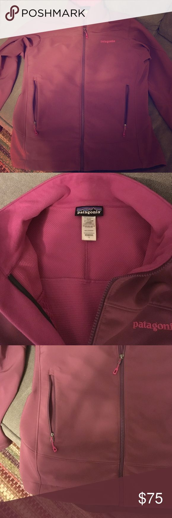 Patagonia purple shell jacket, large If you know Patagonia, you know this stuff is built to last! This jacket is probably warm enough for winter, but I mostly used it for cold fall days. Wind proof and water repellant exterior lined with polartec fleece - soft but not bulky at all. Wrist bands are adjustable, hidden inner pocket. Great for keeping the cold off day to day or for outdoor activities. Muted purple color lined with pink. Excellent used condition. I bought this from REI, but it's…