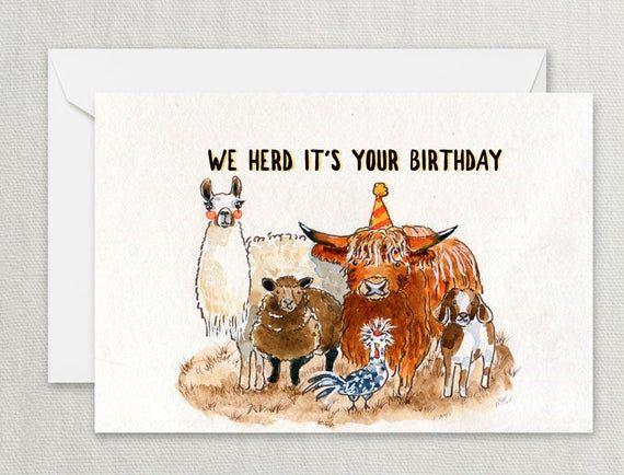 Farm Animal Birthday Card Funny Woodland Llama Alpaca Sheep Etsy Farm Animal Birthday Funny Birthday Cards Animal Birthday