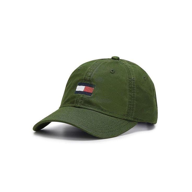 Tommy Hilfiger Mens Tommy Large Flag Logo Baseball Cap Hat Black Forest | eBay