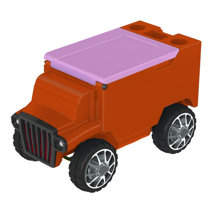Orange/Hot Pink RC Truck Cooler w/ Bluetooth Speakers