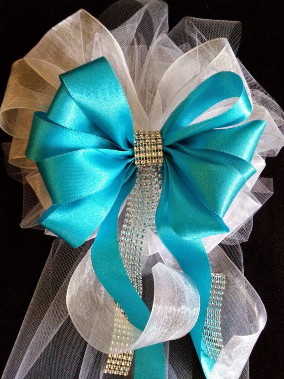 Beautiful Satin And Tulle Bows With Streamers And Bling, Wedding Decorations, Church Pew Bows, Hand Made To Order, Tiffany Blue And White