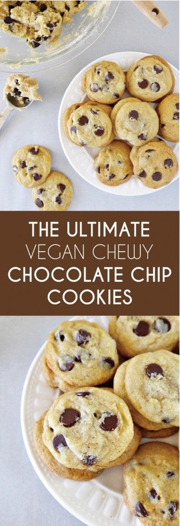 The Ultimate Vegan Chewy Chocolate Chip Cookies - This is my go-to cookie recipe for vegans and non-vegans alike! They are soft, chewy, and chocolatey--they are perfect with a glass of almond milk.