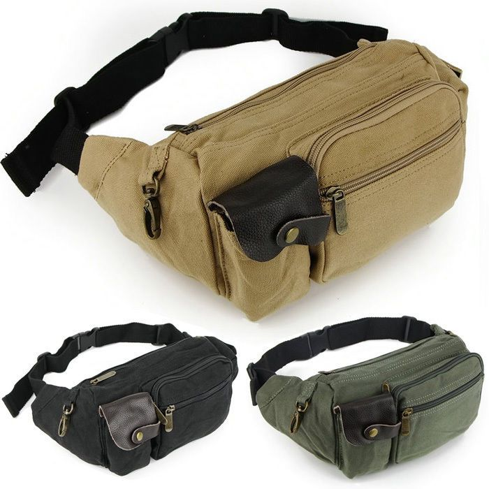 ed38997aeaac Canvas Sport Travel military Fanny Pack Waist Belt Bag Pouch Shoulder bag  men