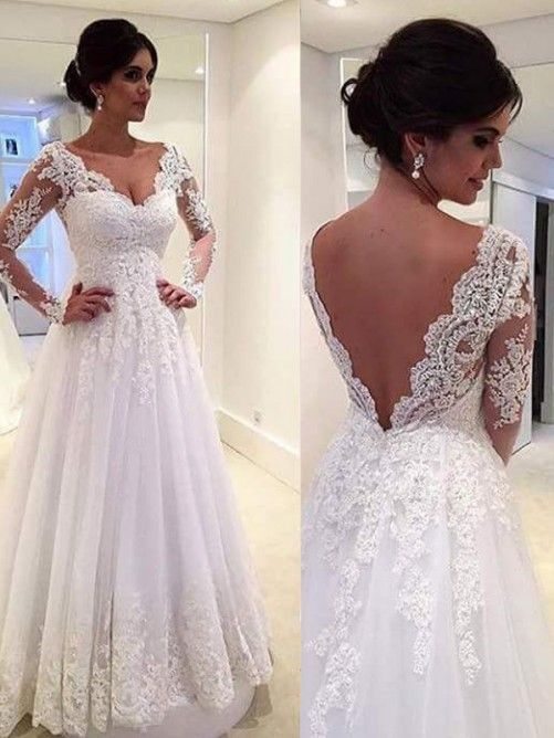 Ball Gown V-neck Long Sleeves Lace Sweep/Brush Train Tulle Bridal Gown – Vintage…