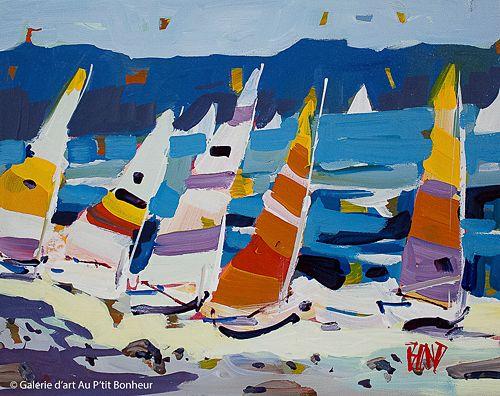 Rick Bond, 'Beach Sails', 11'' x 14'' | Galerie d'art - Au P'tit Bonheur - Art Gallery