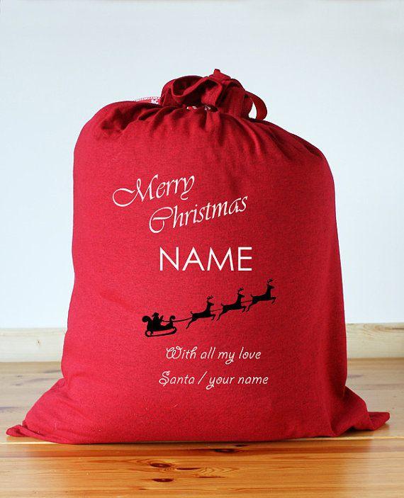 Merry Christmas With Love Santa Handmade Personalised Santa Sacks Christmas Gift Sacks    For Christmas Post Dates please see this Information Listing -