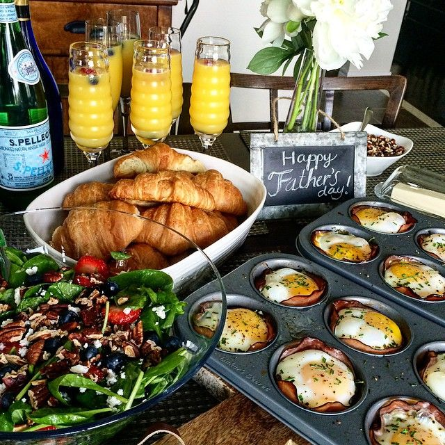 Happy Father's Day! Celebrating with my father and sons this afternoon.  We are all about to enjoy ham, spinach, tomato, jalapeño and goat cheese egg cups with a fresh berry spinach salad while I make my dad his special personal omelette. @zimmysnook