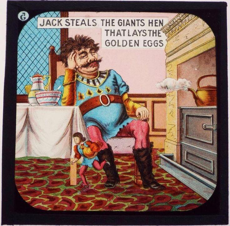 Jack & The Beanstalk Full Set of 8 Antique Magic Lantern Slides c1900 - Primus