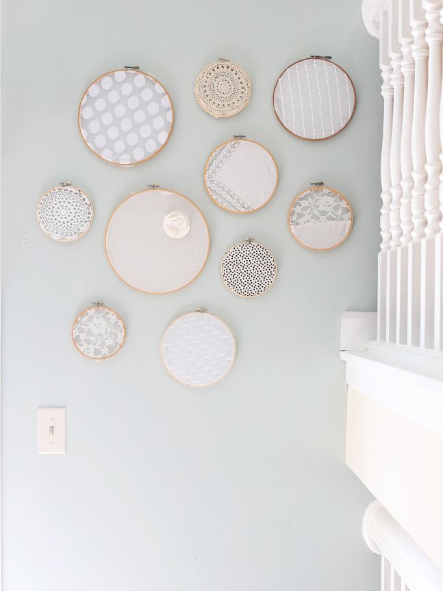 lace and crochet hoops on a wall