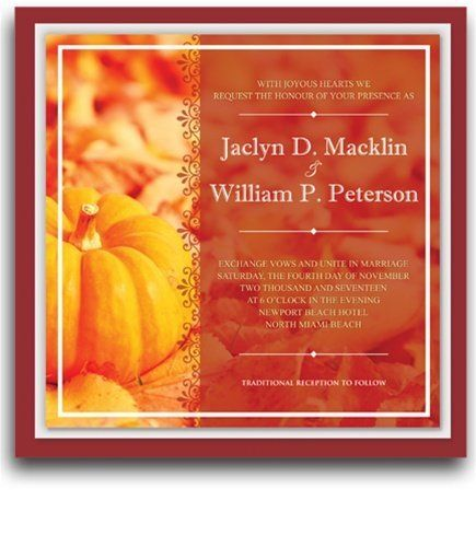 230 Square Wedding Invitations - Harvest Glow by WeddingPaperMasters.com. $586.50. Now you can have it all! We have created, at incredible prices & outstanding quality, more than 300 gorgeous collections consisting of over 6000 beautiful pieces that are perfectly coordinated together to capture your vision without compromise. No more mixing and matching or having to compromise your look. We can provide you with one piece or an entire collection in a one stop shopping ...