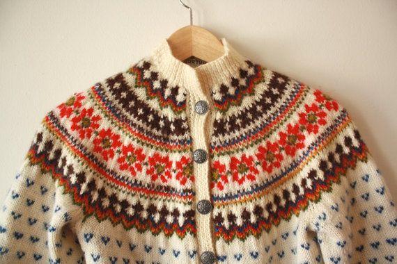 Norwegian Fair Isle Wool Vintage Sweater by flickaochpojke on Etsy, $75.00