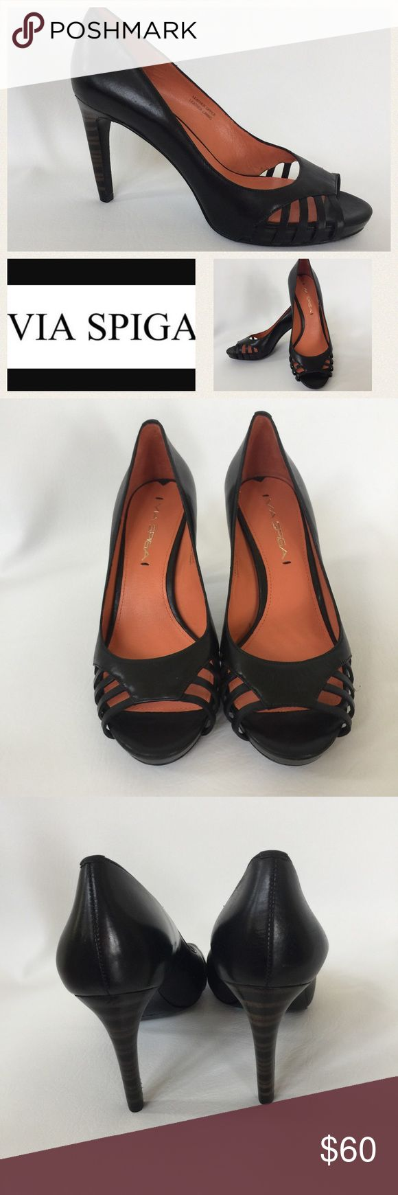 """NWT Via Spiga Black Leather Heels New with tag from Nordstrom Rack.  Black Leather Upper.  Size 6.  Open toe.  3.5"""" heel.  Size is 6M.  Original retail price $165.  Nordstrom Rack price $89.97.  Beautiful shoe at a HUGE saving!  Logo is internet stock photo. Via Spiga Shoes Heels"""
