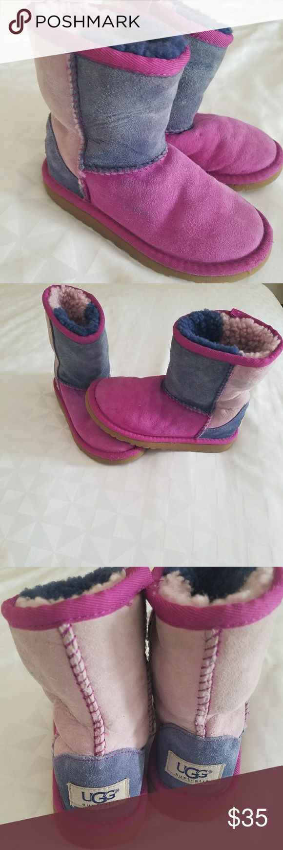 Girls Pink &  Blue UGG Boots See all pics. Used condition but still lots of life and love left in them.  Bottom of shoes in GREAT shape UGG Shoes Boots