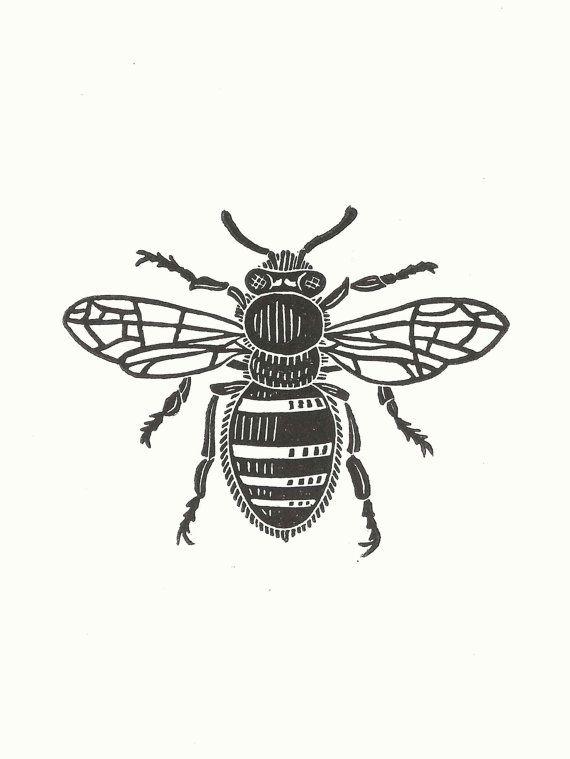 Carte de voeux de linogravure abeille / / fait par InkshedPress