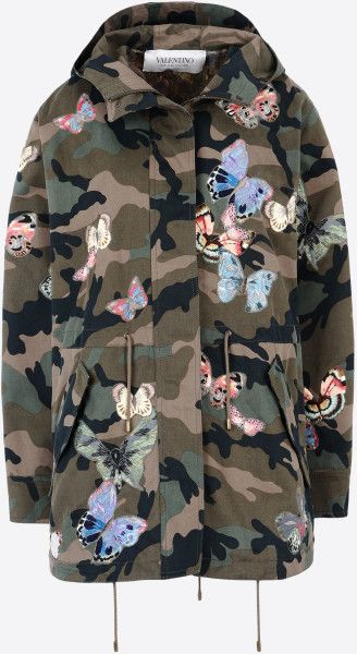 Valentino Camouflage Parka + Embroidered Butterflies in Multicolor (Military green)
