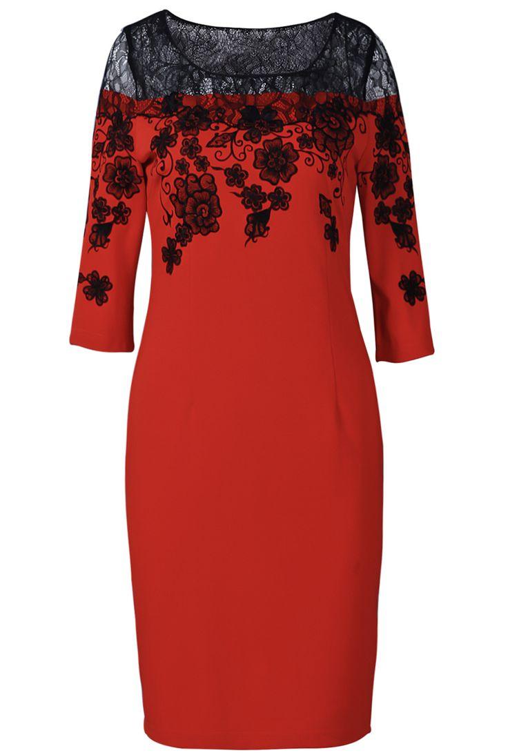 Orange Half Sleeve Lace Embroidery Bodycon Dress