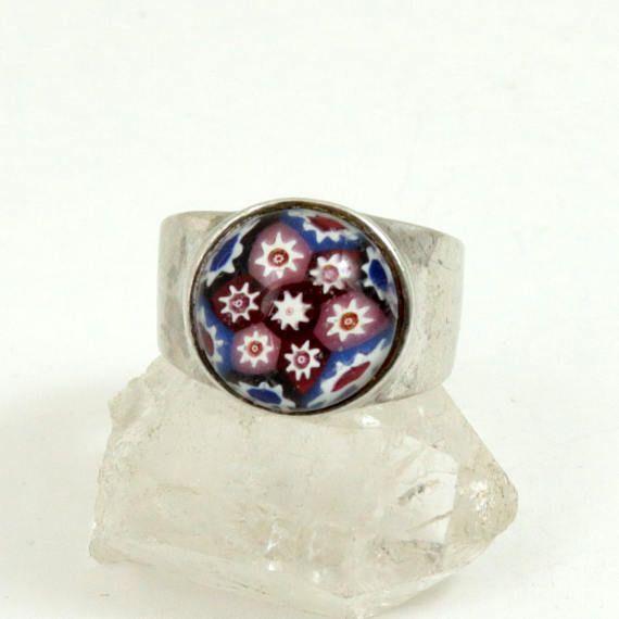 Vintage Scottish Caithness Glass Ring Sterling Silver