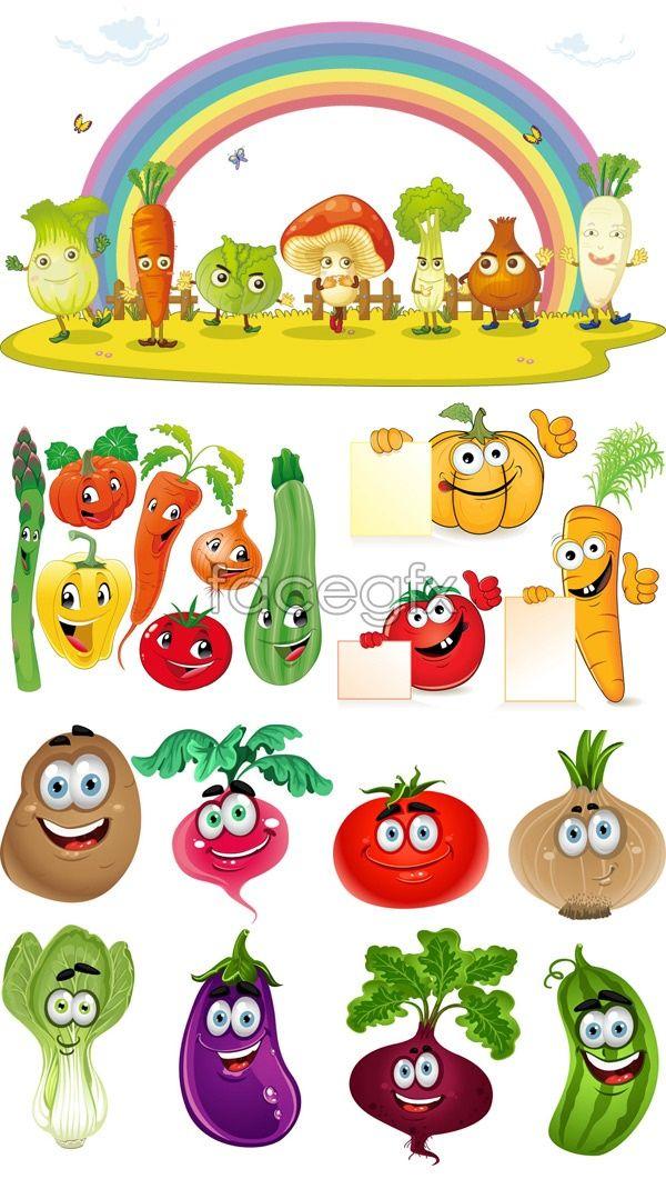 Cartoon vegetables vector