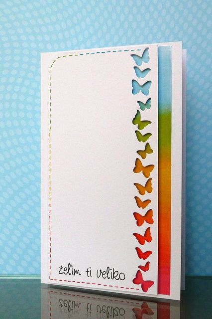 Rainbow of butterflies card #card