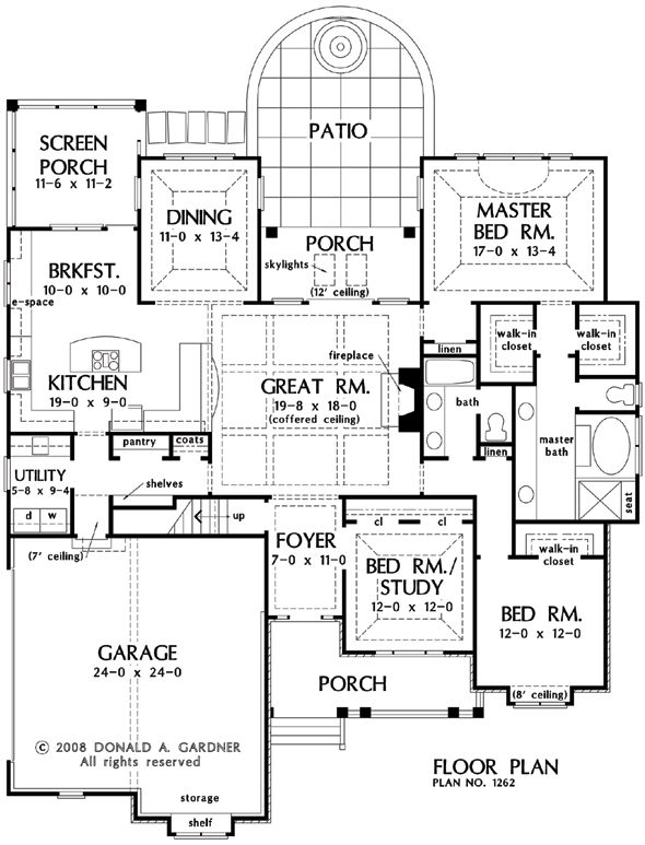 First Floor Plan of The Whitney - House Plan 1262