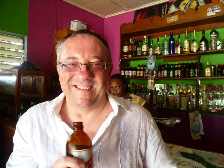 Ian drinking Red Stripe in Falmouth, Jamaica