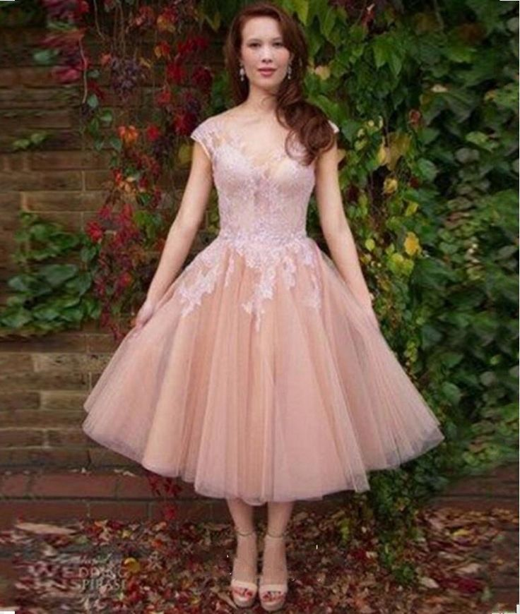 Cheap elegant cocktail dresses, Buy Quality cocktail dresses directly from China short party gowns Suppliers: Elegant Cocktail Dress 2017 Cap Sleeves Scoop Prom Party Gowns Short Dresses Tulle Vestido De Festa Curto Tea Length