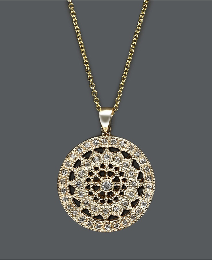 Zales Jewelry Necklaces >> Effy Collection Diamond Necklace, 14k Gold Diamond Round Pendant (1/4 ct. t.w.) - Necklaces ...