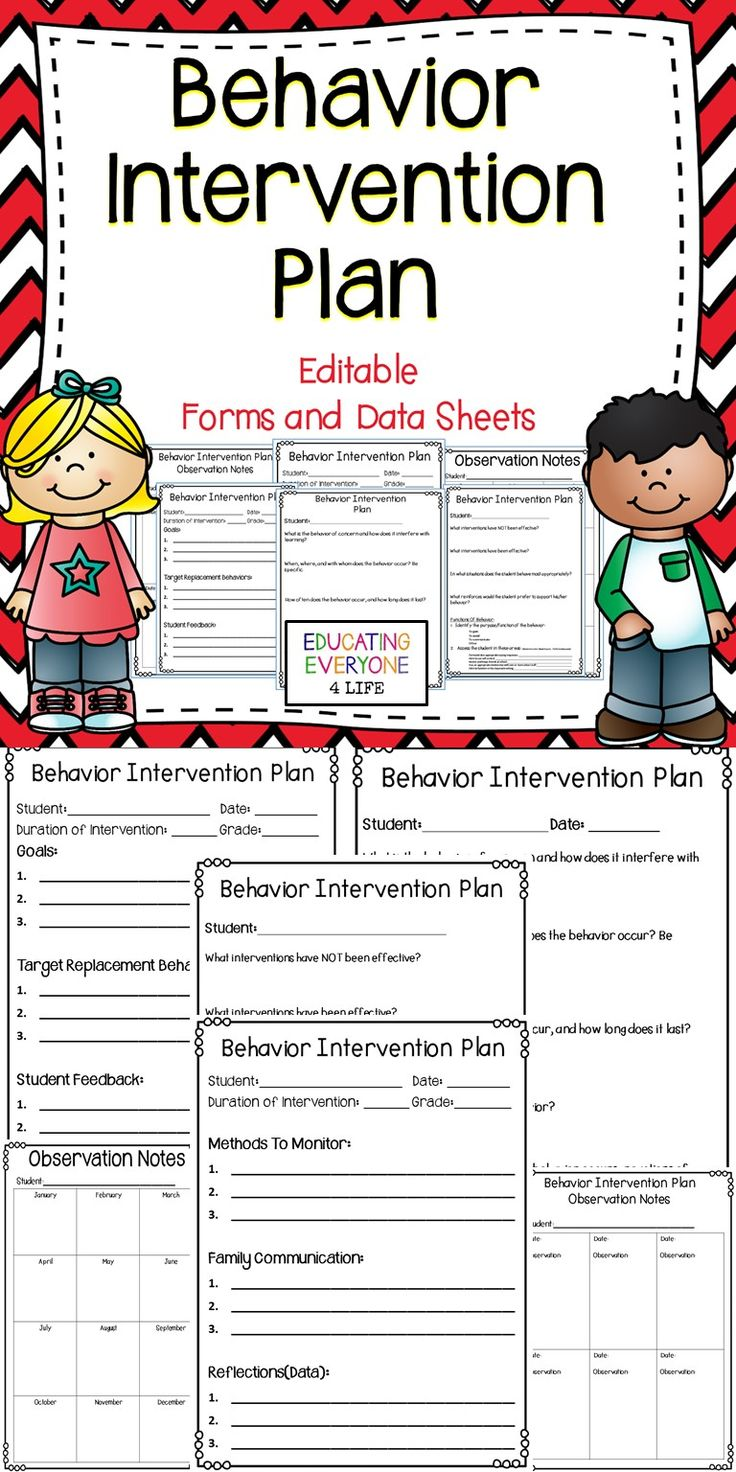 Behavior Intervention Plan Editable Forms and Data Sheets ...