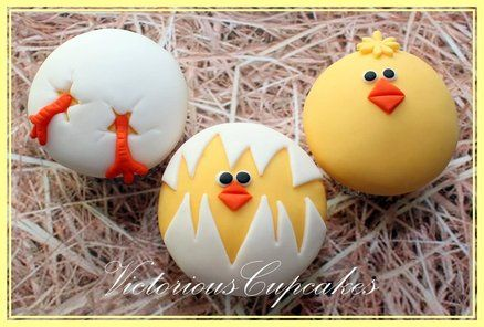 Easter Hatching Chick Cupcakes ~ I hate fondant on cupcakes, so I'm putting them on my cookie list