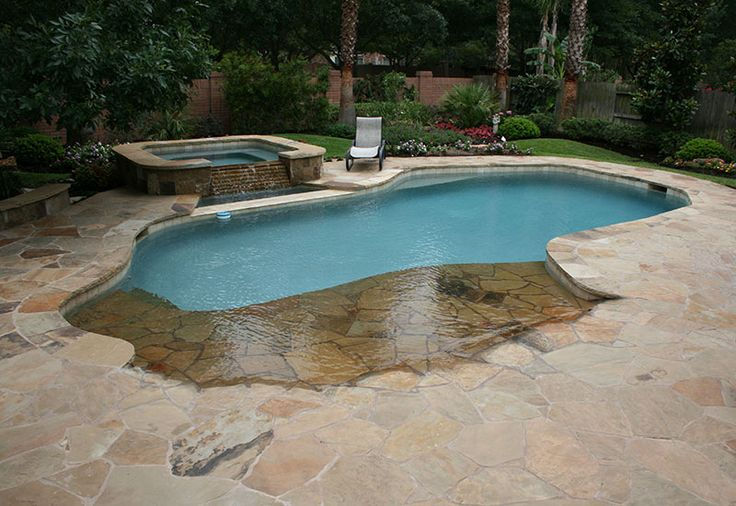 Backyard swimming pool with beach entry and fire pit natural free form swimming pools design - Beach entry swimming pool designs ...
