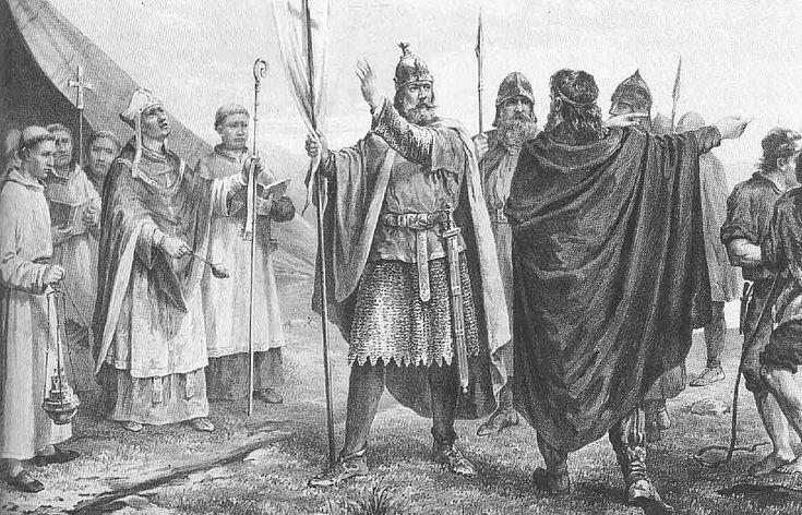 Olav ble døpt i England i 995, kom med hærfolk og rikt gods til Trøndelag, som var i opprør mot Håkon Jarl, og ble etter mordet på ham tatt til konge på Øreting.  Olav Tryggvason falt i en sjøstrid ved Svolder (som har vært lokalisert både til Øresund og nær Rügen) på vei fra Vendland, i kamp mot Svend Tveskæg, Olof Skötkonung og Håkon jarls sønn, Eirik.