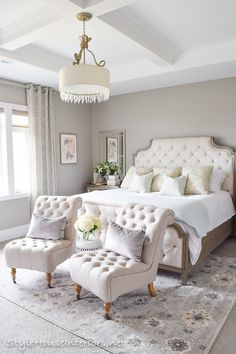 Welcome to my master bedroom spring tour! I'll also be sharing some ideas on how to style your bedside table. #luxurybedroom