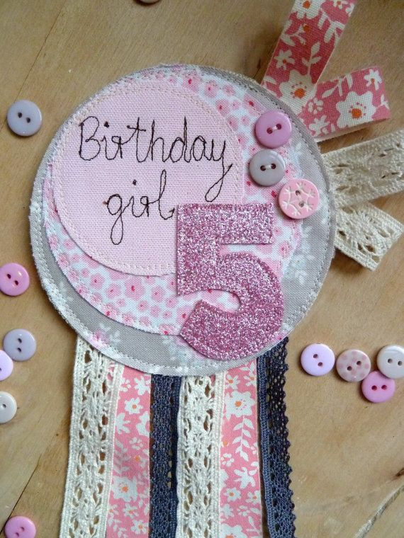 Birthday Girl Rosette // Badge // Keepsake by KatiesShed on Etsy