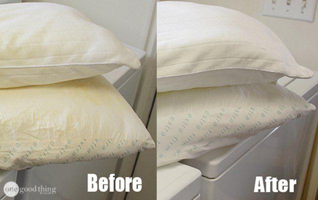 Whiten yellowed pillows