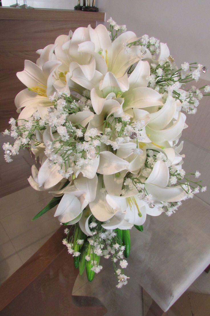 White Casablanca Lilies + White Gypsophila Wedding Bouquet