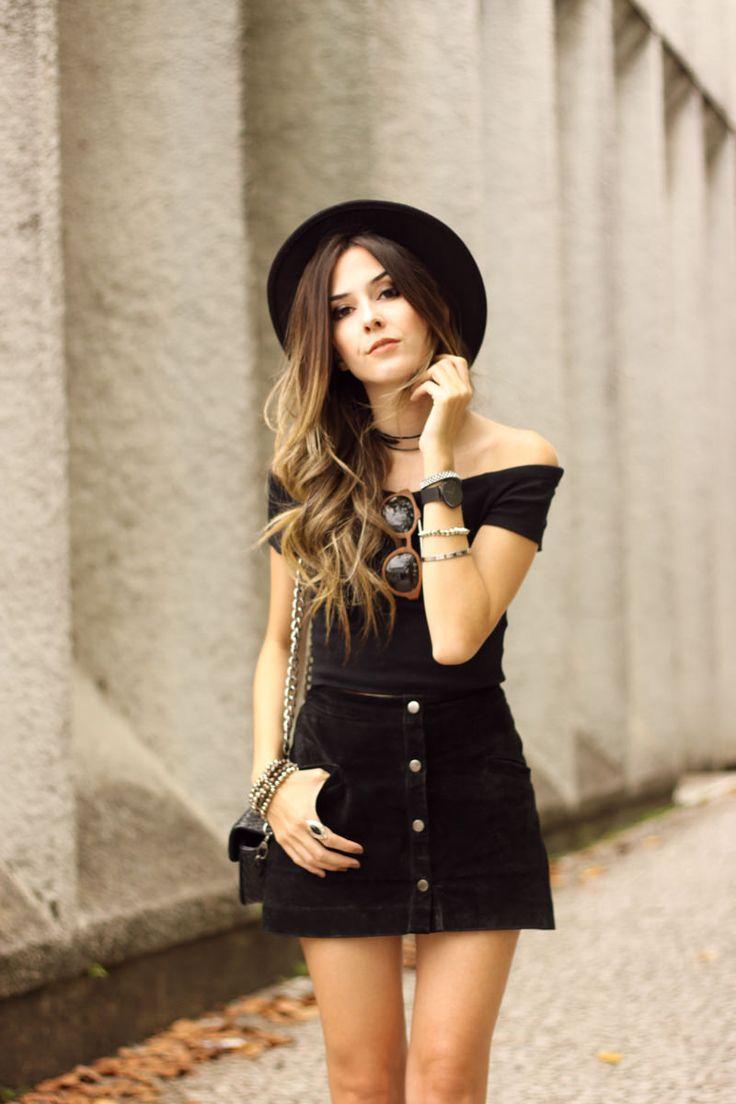 FashionCoolture - 01.03.2016 look du jour all black lace up shoes button front skirt (2)