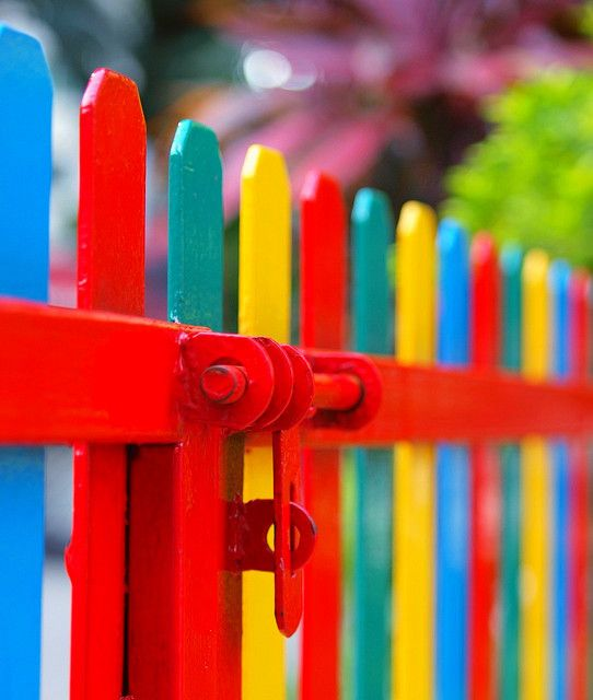 happy fence: Color Bedrooms, Gardens Fence, Bright Colour, Bright Color, Rainbows Color, Gardens Gates, Paintings Fence, Bedrooms Decor, White Picket Fence