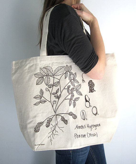 Canvas Tote Bag  Screen Printed Recycled Cotton by ohlittlerabbit, $17.50