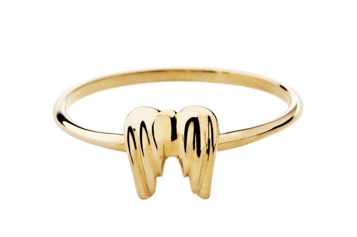 Pierścionek złoty Minty dot skrzydła anioła