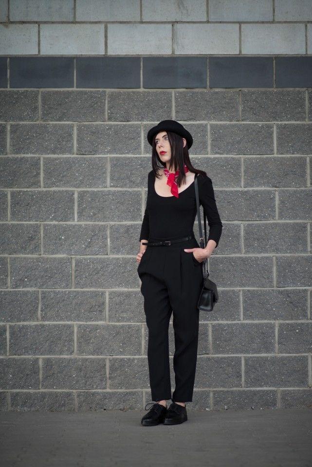 Androgynous fashion  #androgynous #boyish #bandana #bowlerhat #totalblack #fashion #inspiration