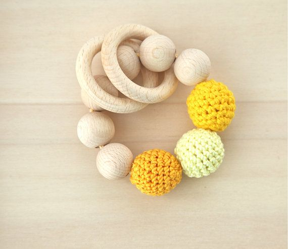 Teething toy with crochet wooden beads by nihamaj, $18.00