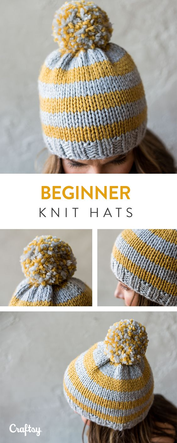Make these beginner knitted hats!