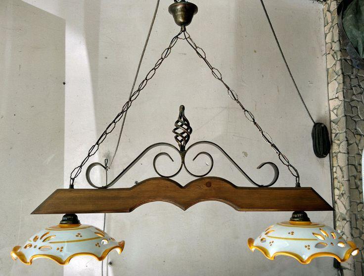 Lampadario in ferro battuto e legno mod.Bilanciere country rustico ceramica